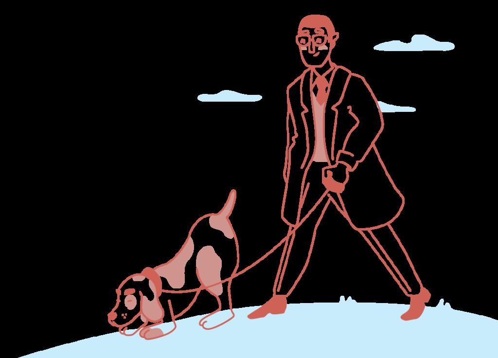 בעיות עור בבעלי חיים -וטרינר הולך עם כלב מחוץ לבית - צבע אדום