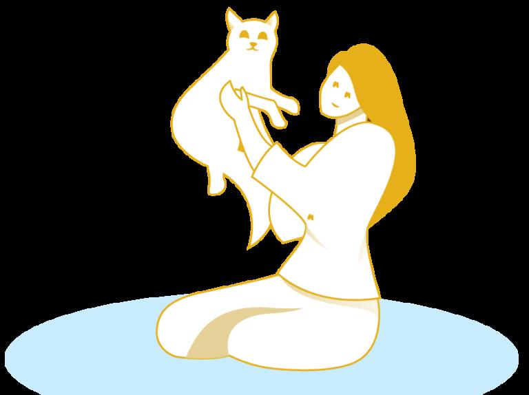 אלרגיות עור בבעלי חיים -אישה מצויירת מחזיקה חתול- ציור בצבע צהוב
